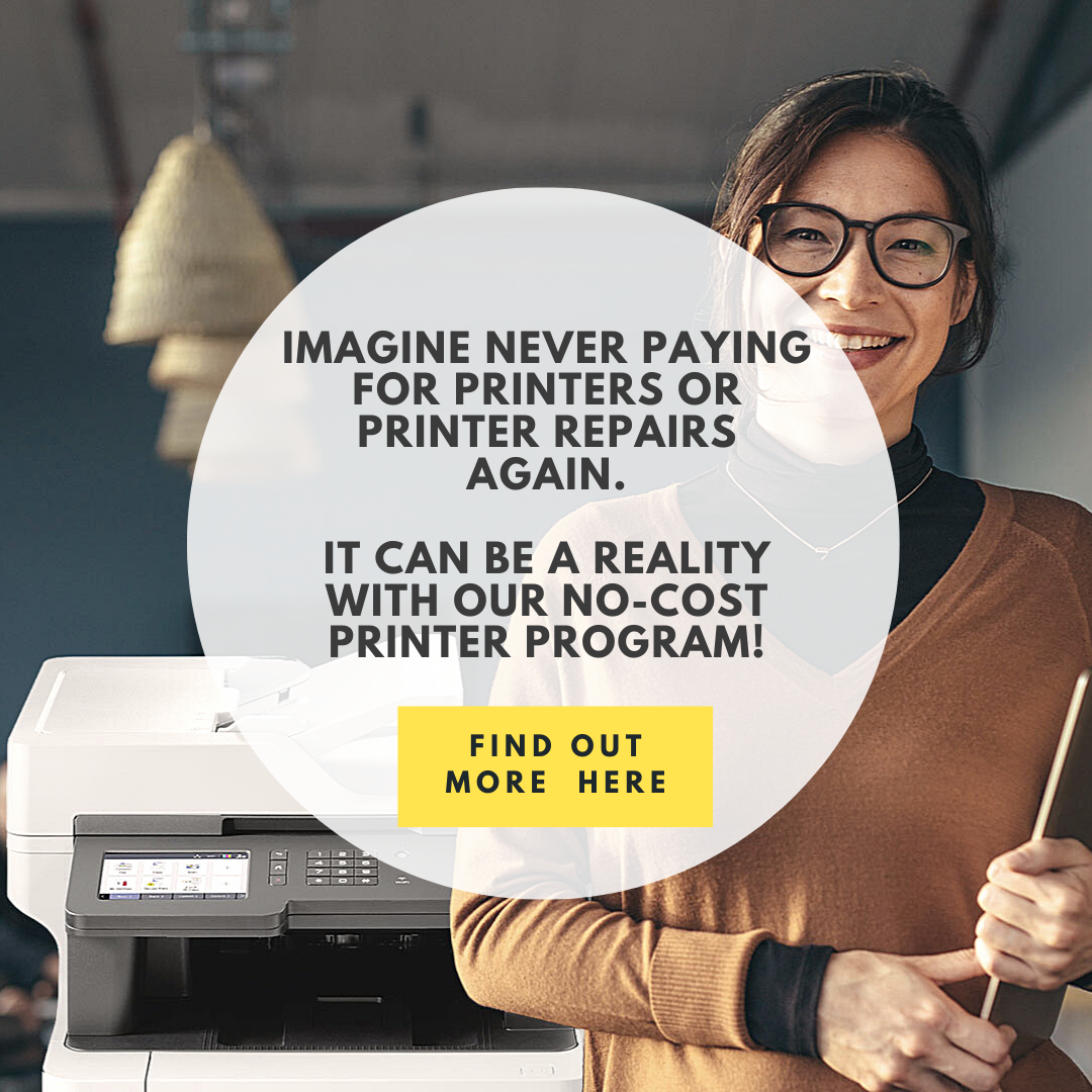 happy woman in front of printer